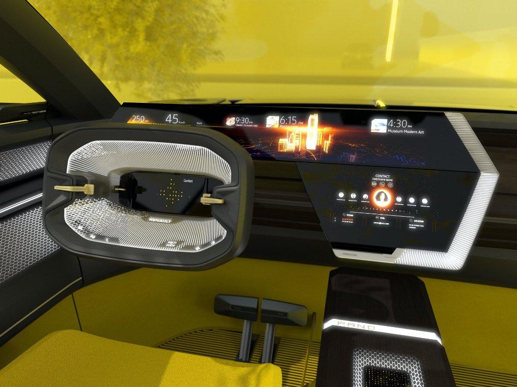 В оснащение салона шоу-кара вошел футуристический руль с 10,2-дюймовым экраном по центру и сидения