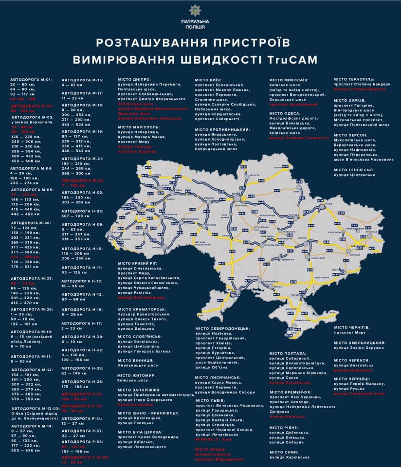 Карта размещения устройств TruCam