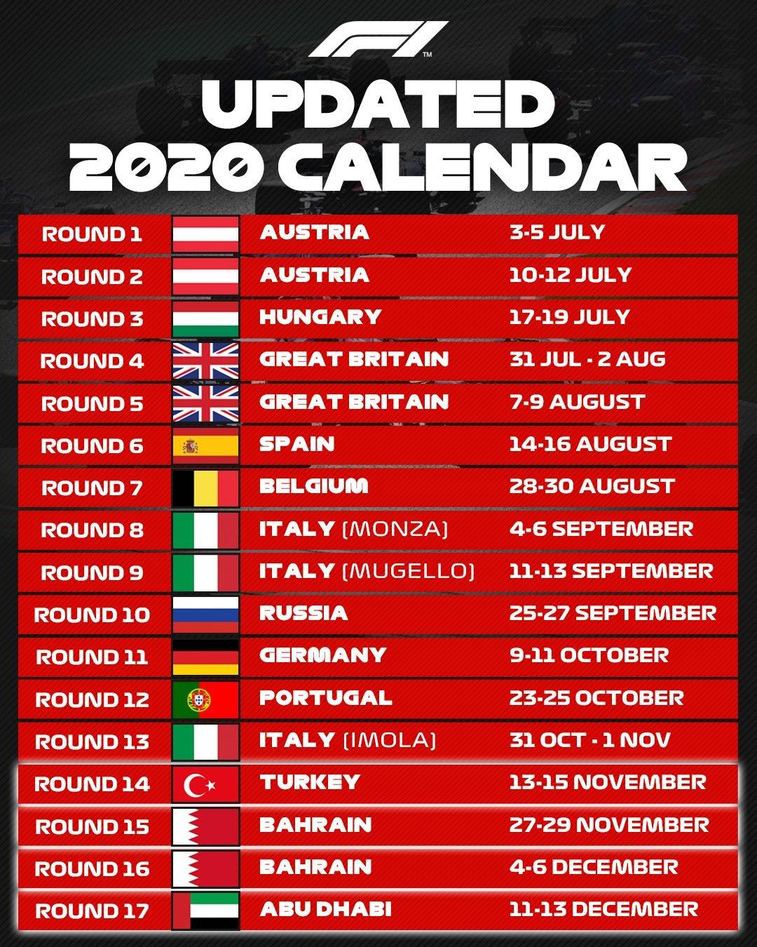 Календарь Формулы-1 сезона 2020